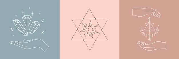 錬金術の秘教の神秘的な魔法のお守りのセット