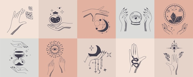 女性の手で錬金術の難解な神秘的な魔法のセット