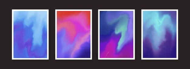 알코올 잉크 스플래시 물방울 배경 세트입니다. 다채로운 수채화 포스터 컬렉션입니다. 현대 추상 배경 벡터 디자인입니다.