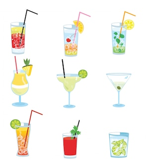 アルコールカクテルのセット。様式化された冷却飲料のコレクション。