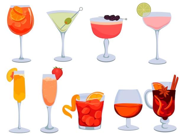 アルコールカクテルのセット。ガラスの様式化されたアルコール飲料のсollection。