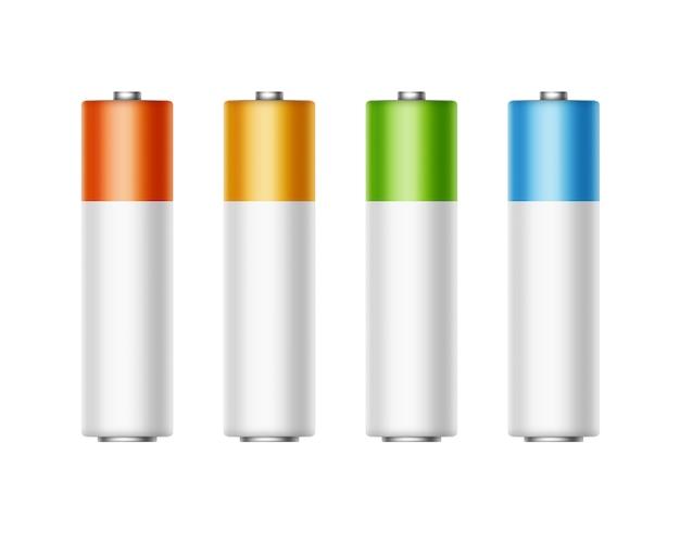 アルカリ単三電池の異なる色のセット