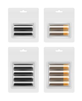 ブリスター包装のアルカリ単三電池のセット