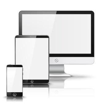Набор экранных устройств всех размеров для предварительного просмотра сайта - размеры компьютера, планшета, телефона, изолированные на белом фоне с отражением.