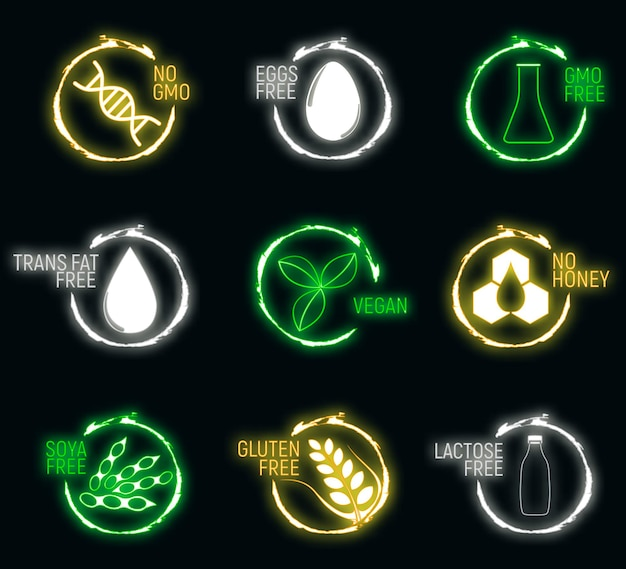アレルゲン食品、gmoフリー製品のネオンアイコンとロゴのセット。不耐性とアレルギーの食べ物。コンセプトベクトルイラストと孤立したアート。