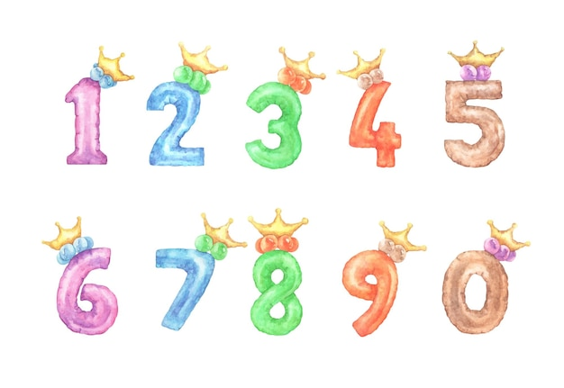 アルファベット番号のセット。王冠付きの1から0までのカラフルなキッズフォント番号。水彩