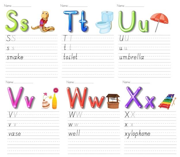 Набор листа алфавита на белой бумаге