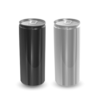 Набор алюминиевых банок черного и серебристого цветов, изолированные.