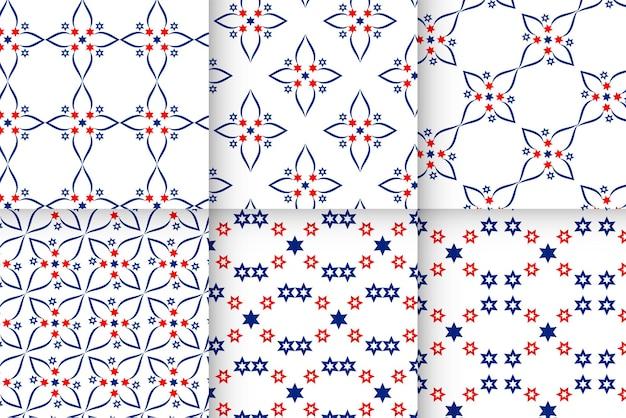 アメリカの国旗のパターンの背景のセット