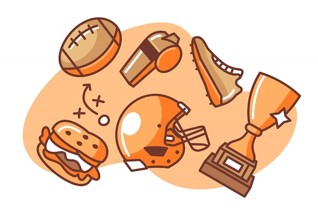 アメリカンフットボールの漫画イラストのセット