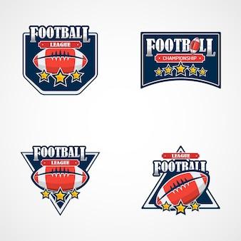 アメリカンフットボールロゴテンプレートのセット