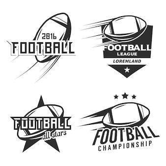 アメリカンフットボールのモノクロのロゴ、バッジ、ラベル、アイコン、デザイン要素のセットです。