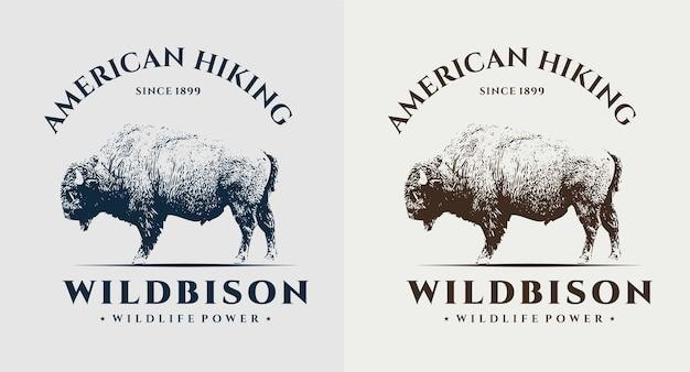 アメリカのハイキングワイルドバイソンビンテージロゴのセット
