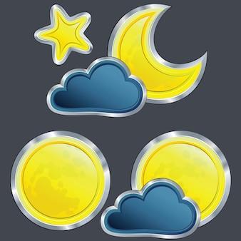 月と星と天気の夜のアイコンのセット