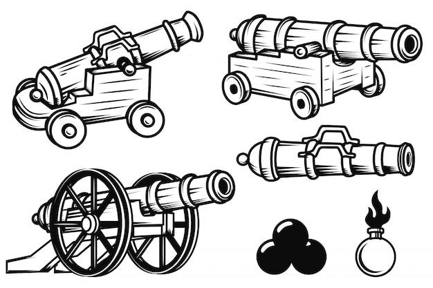 古代大砲のイラストのセットです。ロゴ、ラベル、エンブレム、記号、バッジの要素。図