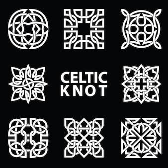 켈트 매듭에서 실행 된 고 대 상징의 세트