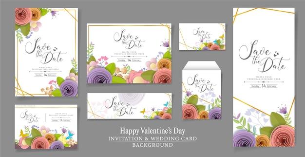 セットと招待状またはウェディングカードのデザイン。クラフトペーパーフラワー、春、秋、結婚式、バレンタインのお祝いの花の花束、明るい秋の色。
