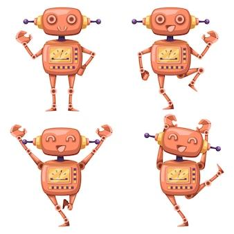 産業用のアンドロイドキャラクターロボット漫画スタイルの未来的なマシンのセット。孤立した未来的なサイバネティックオブジェクト技術孤立したイラスト。