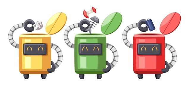 家庭用のアンドロイドキャラクターロボットクリーニング漫画スタイルの未来的なマシンのセット。孤立した未来的なサイバネティックオブジェクト技術孤立したイラスト。