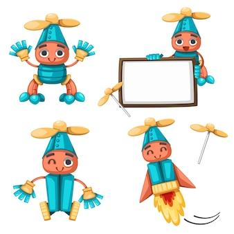 家庭用のアンドロイドキャラクターロボットおもちゃ漫画スタイルの未来的なマシンのセット。孤立した未来的なサイバネティックオブジェクト技術孤立したイラスト。