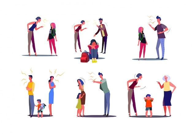 아내, 남편 및 자녀와 충돌하는 화난 사람들의 집합