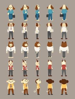 Набор персонажей костюма человека для животных