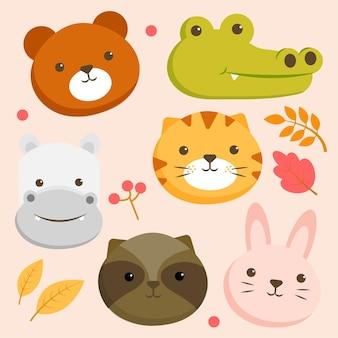 クマ、ワニ、カバ、トラ、ウサギの顔と動物のキャラクターのセット