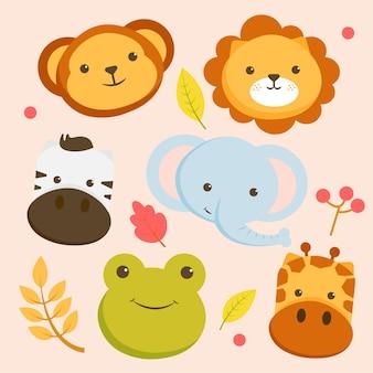 곰 얼굴, 사자, 얼룩말, 코끼리, 기린, 개구리와 동물 캐릭터의 집합입니다.