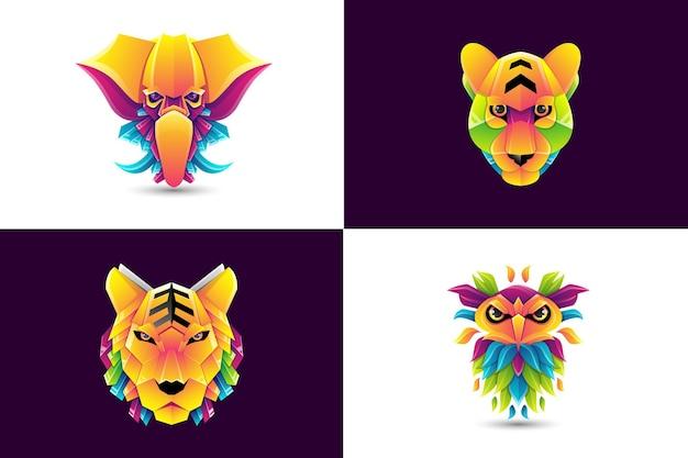 동물 다채로운 로고 코끼리 표범 호랑이 올빼미의 세트