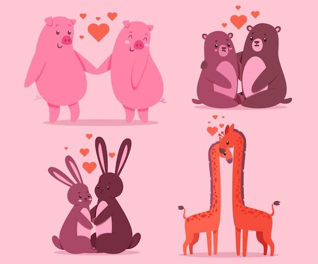 핑크색 돼지, 토끼, 곰, 기린과 사랑에 빠진 동물 커플 세트