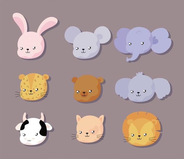 Набор лица животных