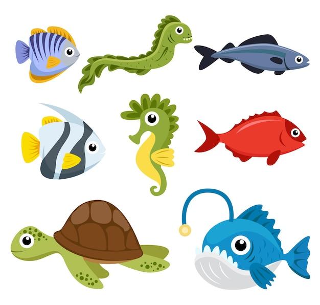 바다 생물, 흰 동가리, 엔젤피쉬, 해마, 거북이의 동물 그룹 세트