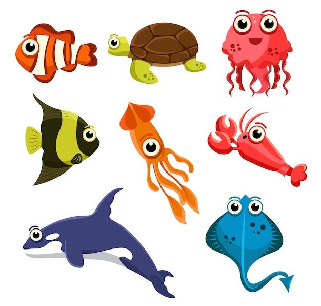 Набор группы животных морских существ, рыбы, рыбы-клоуна, черепахи, медузы, кальмаров, креветок, ската, акулы на белом