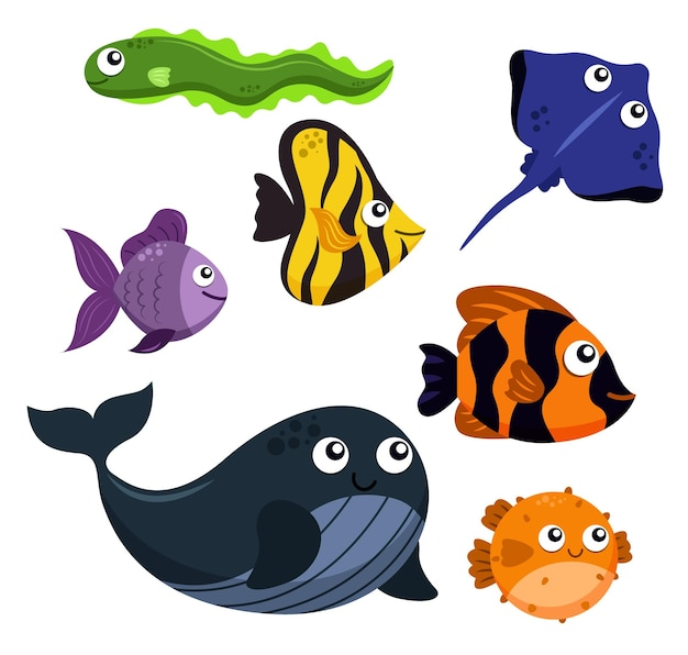 Набор животных группы морских существ, рыбы, угорь, скат, рыба-клоун, рыба-ангел, золотая рыбка, кит, иглобрюх на белом
