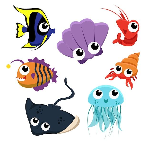 Набор животных группы морских существ, рыбы, раковины, медузы, креветки, ската на белом