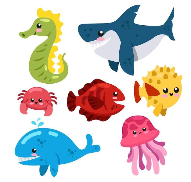 흰색 바탕에 바다 생물, 물고기, 조개, 해파리, 새우, 가오리의 동물 그룹 세트