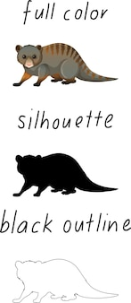 色、シルエット、白い背景の上の黒い輪郭の動物のセット