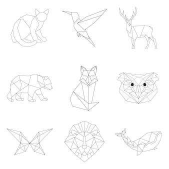 Набор животных линейных иллюстраций