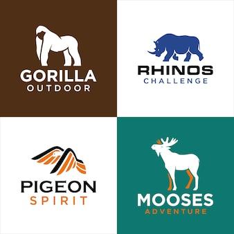 Набор шаблонов логотипов животных