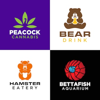 動物のロゴのテンプレートのセット