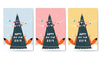 Set of animal themed greeting card vector