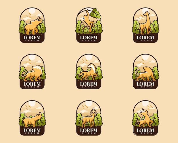 Набор животных с значком дерева
