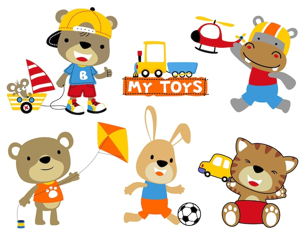 おもちゃを持つ動物漫画のセット Premiumベクター