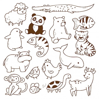 동물 낙서 절연의 집합
