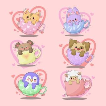 Набор животных в чашке, изолированные на розовом