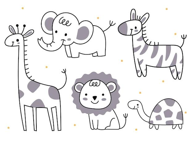 낙서 스타일의 동물 세트 코끼리 기린 사자 거북이 얼룩말 아프리카 동물 어린이를 위한