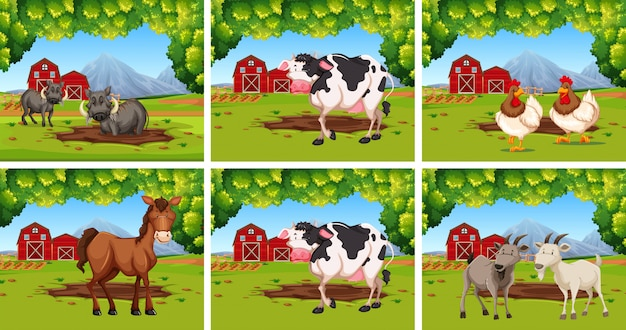 農場での動物のセット