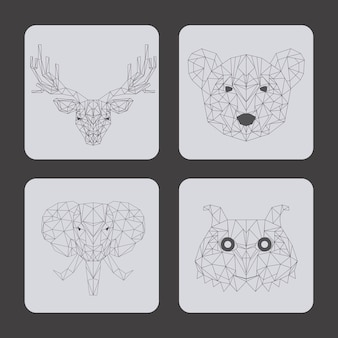 Set of animals over gray background