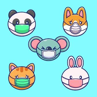 마스크 그림을 입고 동물의 집합입니다. 동물 마스코트 만화 캐릭터 절연
