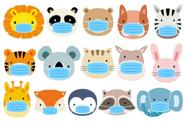 マスクを身に着けている動物のセット